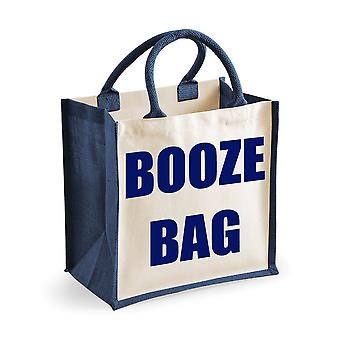Medium Navy Jute Bag Booze Bag