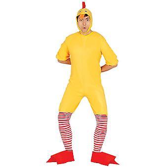 Mens geel kip Fancy Dress kostuum