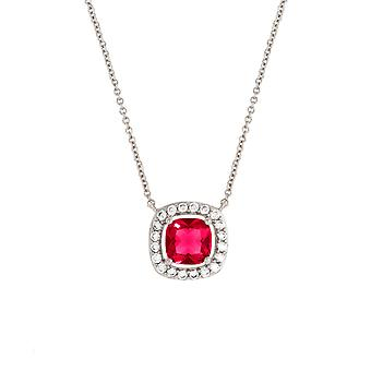 Bertha Juliet Collection Women's 18K WG Plated Red Cushion Halo Fashion Necklace