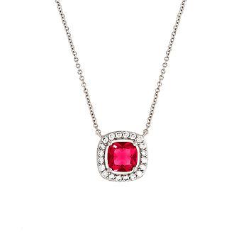 Bertha Juliet kolekcja kobiet 18K WG platerowane czerwona Poduszka Halo moda naszyjnik