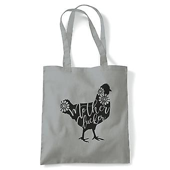 Mother Clucker, Funny Mum Tote | Reusable Shopping Cotton Canvas Long Handled Natural Shopper Eco-Friendly Fashion | Gym Book Bag Birthday Present Gift Him Her | Multiple Colours Available