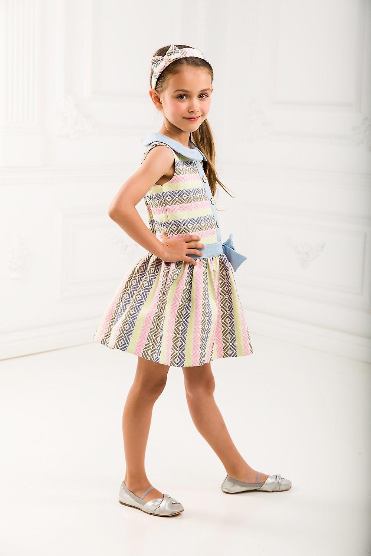 Girl jacquard dress with denim