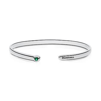 Marshall University Engraved Sterling Silver Emerald Cuff Bracelet