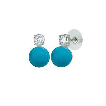 Eternal Collection Eternity Turquoise Howlite & CZ Silver Stud Pierced Earrings