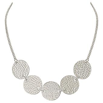 Eternal Collection Utopia Dappled Disc Silver Tone Statement Necklace
