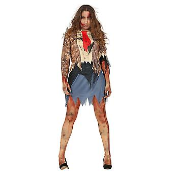 Volwassenen Womens Halloween zombie pak fancy dress kostuum