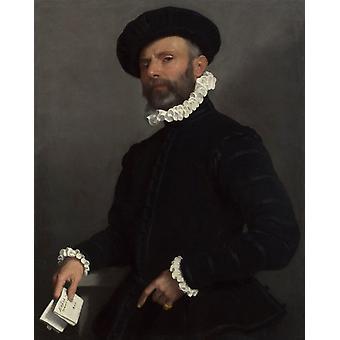 Portrait of a young Man Holding,Giovanni Battista Moroni,50x40cm