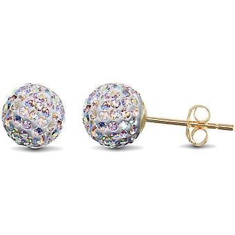 Jewelco London Ladies 9ct Yellow Gold Rainbow Round Crystal Disco Ball Stud Earrings, 8mm