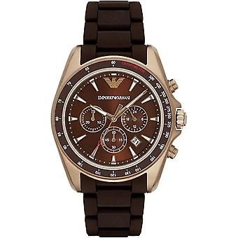Armani Watches Ar6099 Rose Gold & Brown Silicone Chronograph Men's Watch