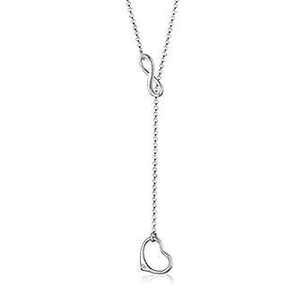 Elli halskjede med en kvinne hjerte form anheng i sølv 925 med hvit diamant
