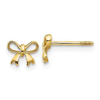 14k Yellow Gold Polished Screw back Bow Post Earrings Jewelry Gifts for Women