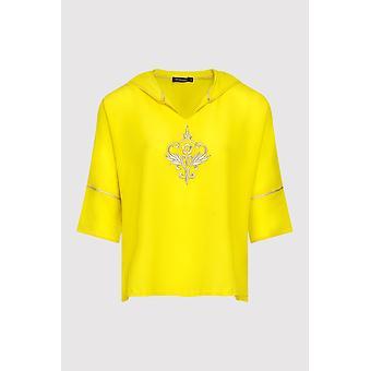 Katalina bordado ligera casual con capucha en amarillo