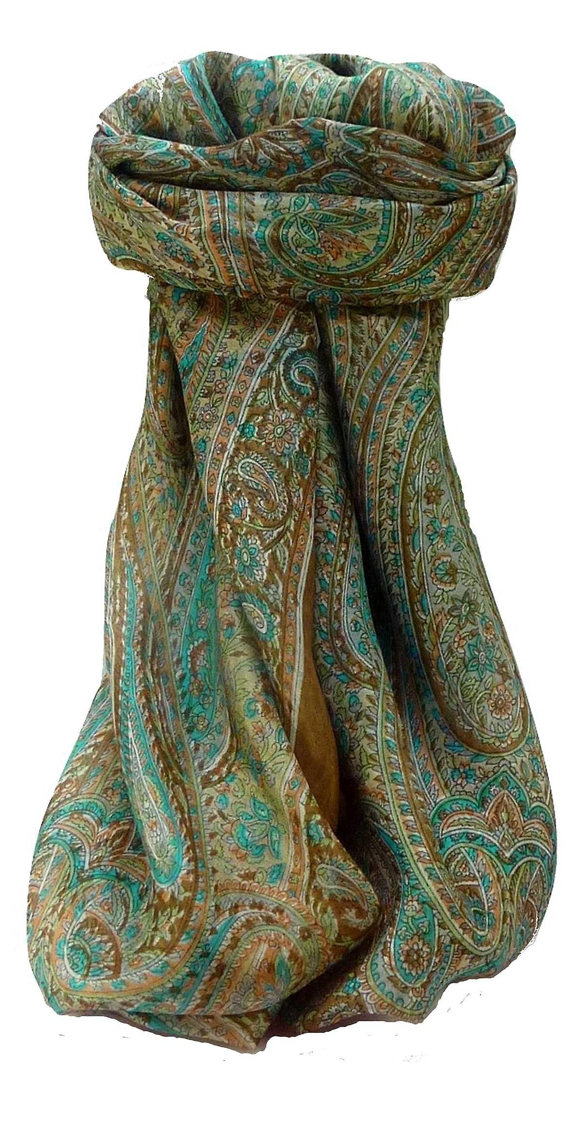 Mulberry Silk Traditional Square Scarf Quiara Chestnut by Pashmina & Silk