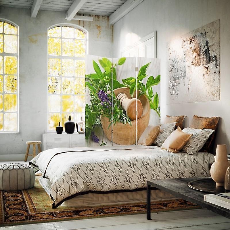 Diviseur de chambre, 3 panneaux, unilatéral, toile, herbe de mortier en bois
