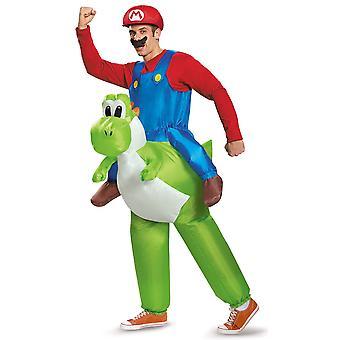 Mario Riding Yoshi Inflatable Super Mario Bros Video Game Adult Mens Costume XL