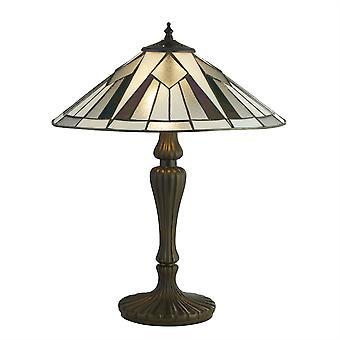 Searchlight Gatsby 2 Light Table Lamp Antique Bronze, Black, White, Multi 6073-42