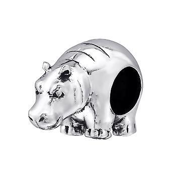 Nilpferd - 925 Sterling Silber Plain Beads - W4372X