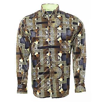 Oscar Banks Mayan Designed Long Sleeve Mens Shirt