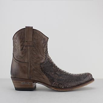 Sendra 9469p Mens Leather Python Ankle Cowboy Boots Brown
