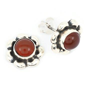 Karneol Ohrstecker 925 Silber Sterlingsilber Ohrringe orange rot (KLE-OS-023)
