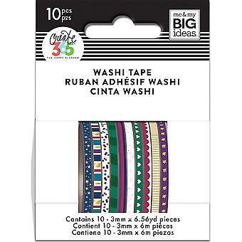 Happy Planner Mini Washi Tape 3mmx6.56yd Each 10/Pkg-Jewel Tones