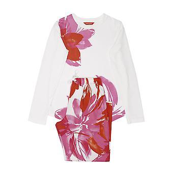 Minijammies 5523 Girl's Amber Cream Off White Floral Print Cotton Woven Pyjama Set