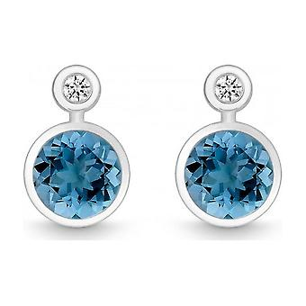 QUINN - Studearrings (Pair) - Argent - Diamant - Blue Topas - Wess. (H) - 363939582