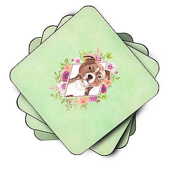 Set of 4 Staffie Bull Terrier Green Flowers Foam Coasters Set of 4