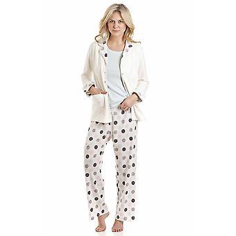 Damer Misty Dots Spot Print 3 stykke lange Pyjamas & Fleece Bed jakke sæt 57402