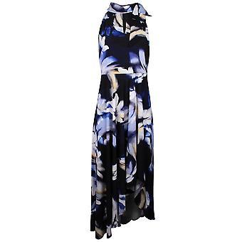 Frank Lyman Navy Floral Print Sleeveless Fish Tail Long Dress
