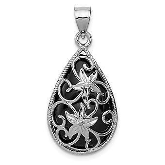 925 Sterling Silver Polished Sparkle Cut Simulated Onyx Pendant Necklace Jewelry Gifts for Women