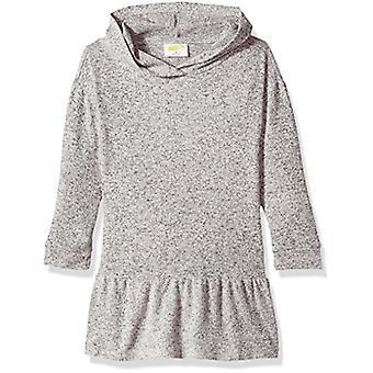 Crazy 8 Girls' Toddler Long Sleeve Knitted Peplum Dress, Heather Grey, 5T
