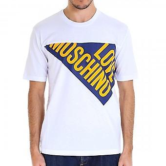 Love Moschino White Angled Logo T Shirt M476701M3876 A00