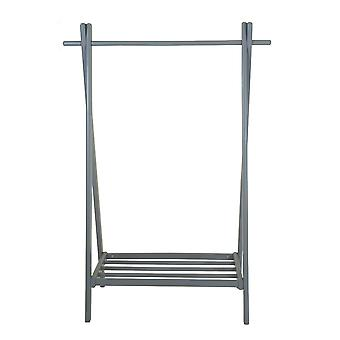 Charles Bentley Small Solid Wood Hanging Clothes Rail/Clothing Stand/Shoe Rack Grey 120x42.5x86