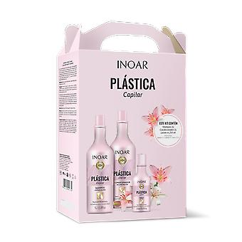 Inoar Plastica Capilar Hair Shaper Kit- Shampoo, Conditioner 1 Litre & Leave In