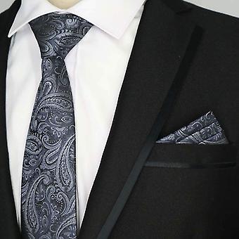 Mixed grey paisley pattern pocket square & necktie set