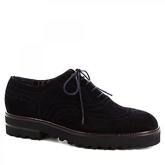 Leonardo Shoes Męskie's ręcznie sznurowane buty brogues w ciemnoniebieskiej skórze zamszowej