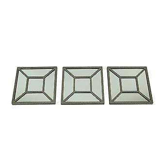 Square Geometric Frame Decorative Wall Mirrors Set of 3