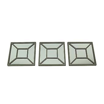 Firkantet geometrisk ramme dekorative vægspejle sæt af 3