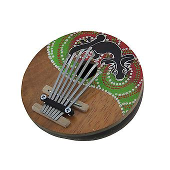 Hand Crafted Coconut and Wood 7 Key Gecko Mbira Thumb Piano