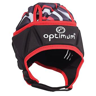 Optimum Razor Adult Rugby Headguard Scrum Cap Black/Red