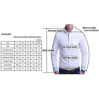 Markalar Mens Casual Button Down Shirts regelmäßige Fit lang, lila, Größe Medium