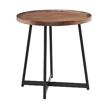 """21.66"""" X 21.66"""" X 22.05"""" Round Side Table in American Walnut and Black"""