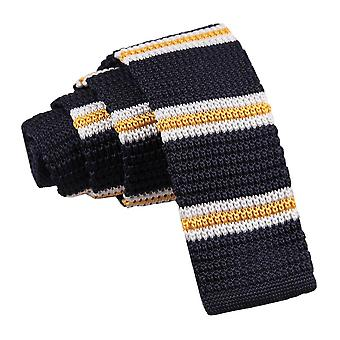 Navy with Yellow & White Thin Stripe Knitted Skinny Tie