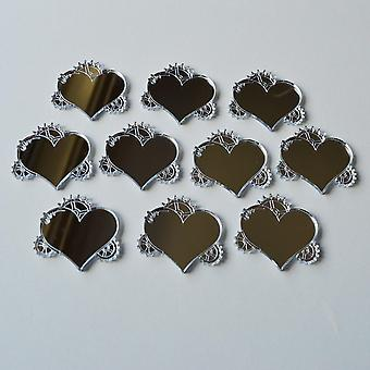 Steampunk Steam Cog and Gears Heart Mini Craft Sized Acrylic Mirrors (10Pk)
