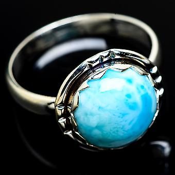 Larimar Ring Size 11.75 (925 Sterling Silver)  - Handmade Boho Vintage Jewelry RING8026