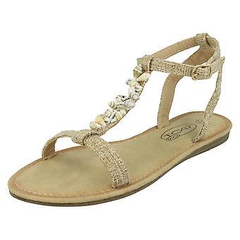 Ladies Spot On Shell T-Bar Sandals F00360