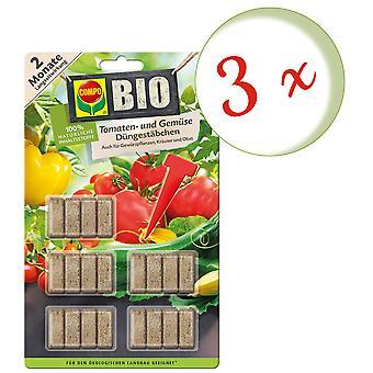 Sparset: 3 x COMPO ØKOLOGISK tomat og vegetabilsk gjødsel pinner, 20 stykker