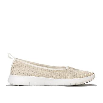 Women's Fit Flop Stripknit Ballerina Shoes in White