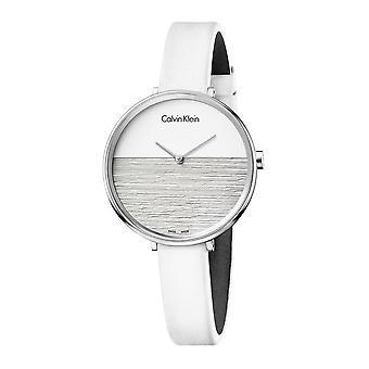 Calvin Klein K7A231L6 Rise White Dial White Leather Ladies Watch
